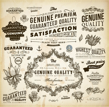 vintage ornaments adornment elements vector art