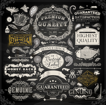 vintage ornaments covers for labels and frame vector