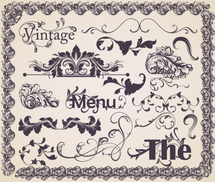 vintage ornaments frames with borders design vector