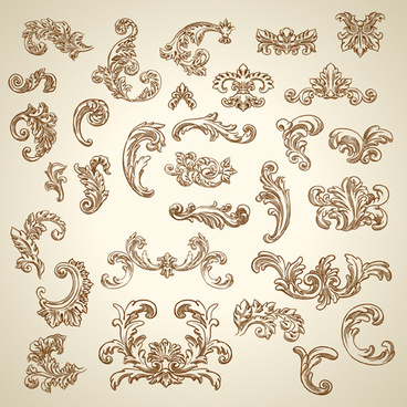 vintage ornaments with corners vector