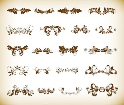 vintage ornaments with floral element for design vector set