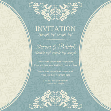 vintage ornate holiday invitation cards vector