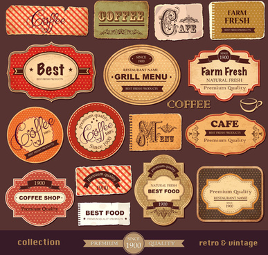 vintage paper coffee labels vector