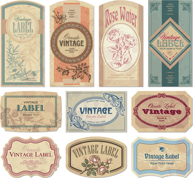vintage paper labels vectors set