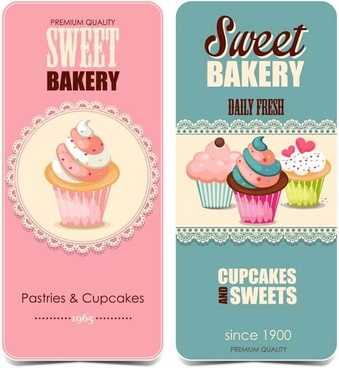 vintage pastries with cupcakes cards vector