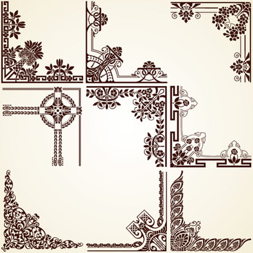 vintage pattern area borders and ornaments vector