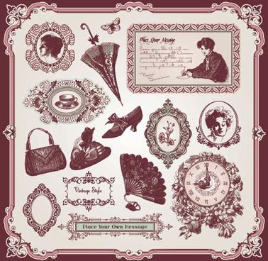 vintage pattern labels vector set