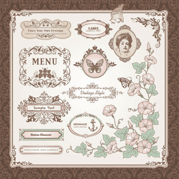 vintage pattern labels vector set