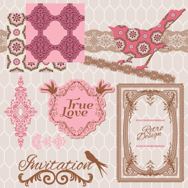 vintage pattern lacelabel and frames decor vector collection