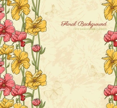 vintage patterns flowers illustration vector