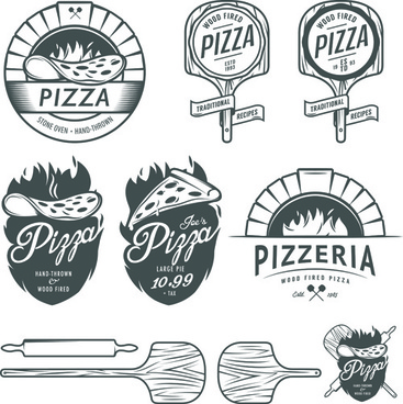 vintage pizza logos design vectors