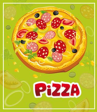 vintage pizza slices poster vectors