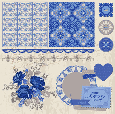 vintage postcard with blue ornament elements vector