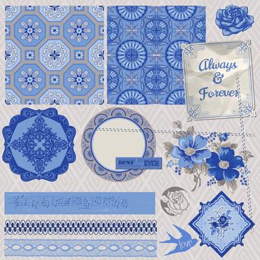 vintage postcard with blue ornament elements vector