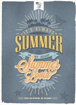 vintage poster happy summer design vector