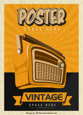 vintage poster template old classic radio sketch