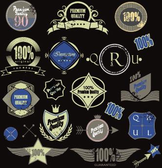 vintage premium quality labels vector