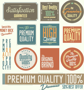 vintage premium quality stickers and labels with banner vector