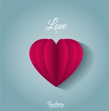 vintage purple paper heart in love