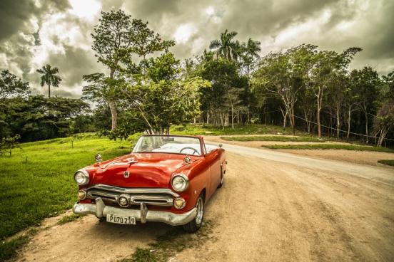 vintage red chevrolet corvette sports car