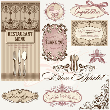 vintage restaurant menu design elements vector