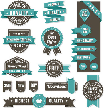 vintage ribbon and labels sale elements vector