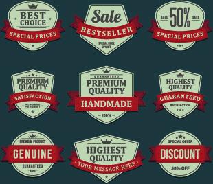 vintage ribbon sale labels vector