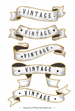 vintage ribbon templates 3d dynamic sketch