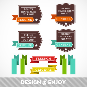 vintage ribbon with labels vector