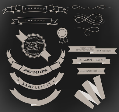 vintage ribbon with quality label vector