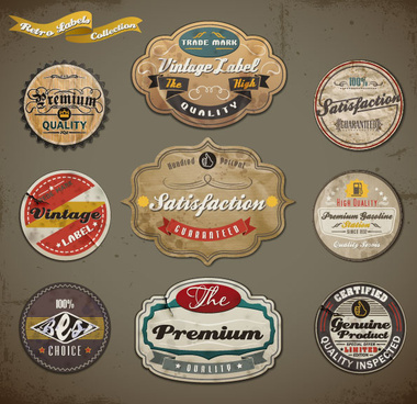 vintage ribbons labels and stickers vector