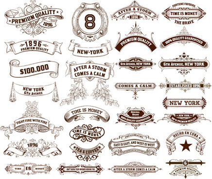 vintage ribbons labels design graphics