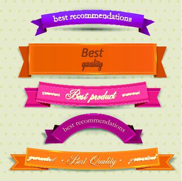 vintage ribbons vector set