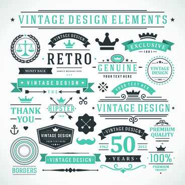 vintage robbon banner with labels vector