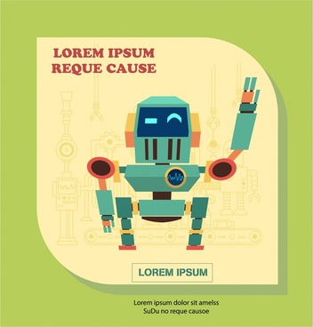 vintage robot illustration with hello gesture