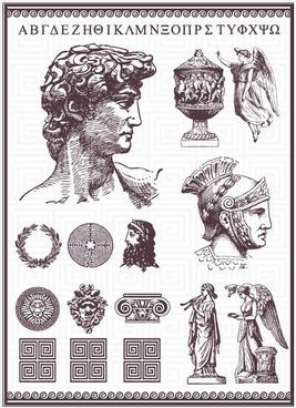 vintage roman statues design vector