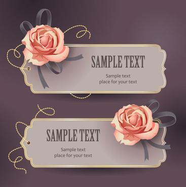 vintage romantic rose label vector