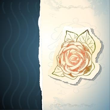 vintage rose floral stickers vector