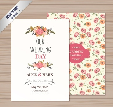 vintage rose wedding card vector