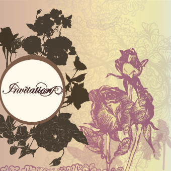 vintage rose wedding invitation cards vector