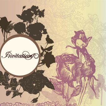 vintage rose wedding invitation cards vector