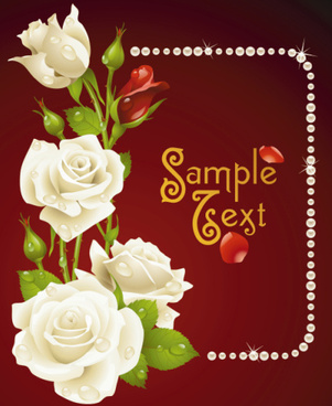 vintage rose with pearl frame vector card