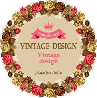 vintage roses frame illustration vector