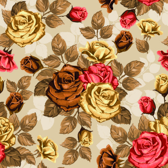 vintage roses seamless pattern vector graphic