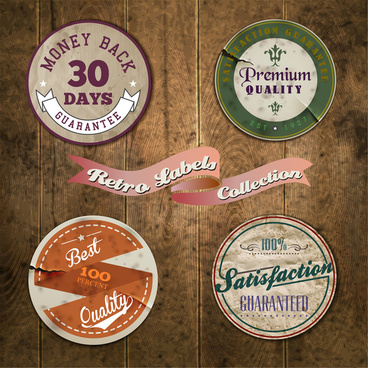 vintage round labels of product quality certification