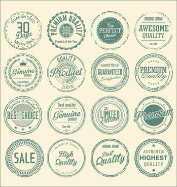 vintage round stamp label vector