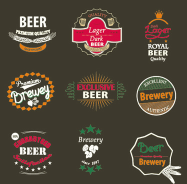 vintage royal beer labels with badges vector