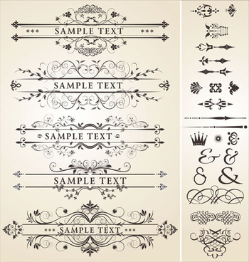 vintage royal ornaments design elements vector