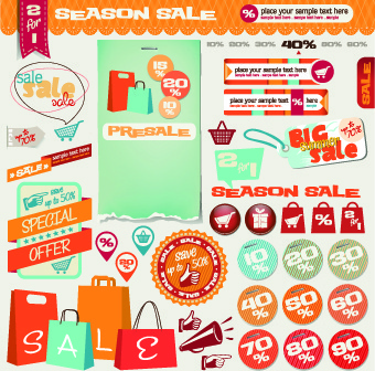vintage sale labels and stickers vector