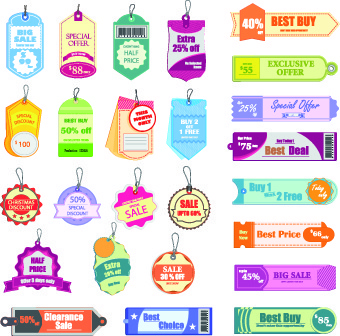 vintage sale tags vector
